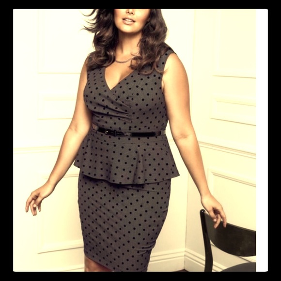 309dd570c556 Retro Grey Peplum Plus Size Black Polka Dot Dress.  M 5a446f755521beb52b0bd52e